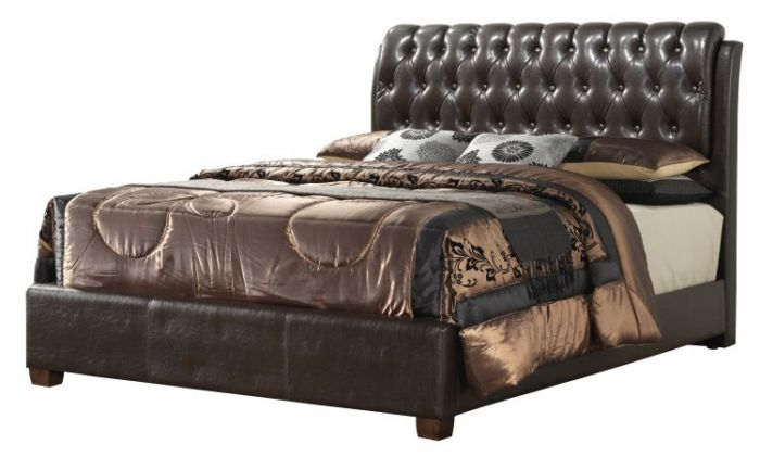 Queen Upholstered Bed in Cherry