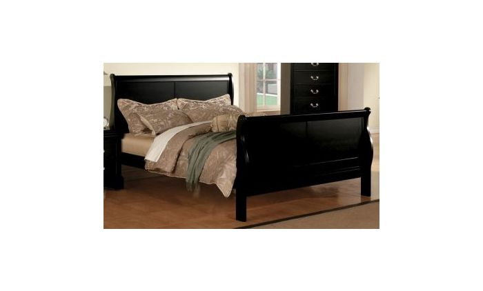 Louis Philippe III Eastern King Bed in Black