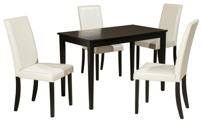 Kimonte 5-Piece Rectangular Table Set with Ivory Chairs