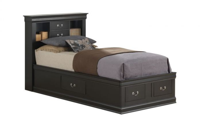 Twin Storage Bed in Black