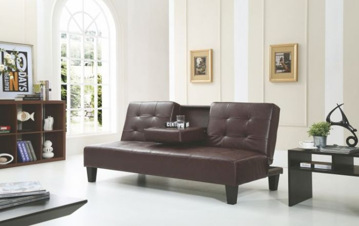 Chocolate Sofa Bed With Cup Holder