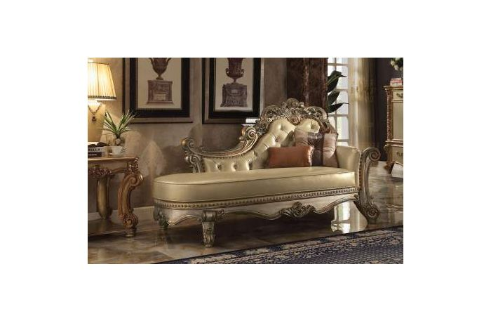 Vendome Chaise With 2 Pillows Gold Bone Finish