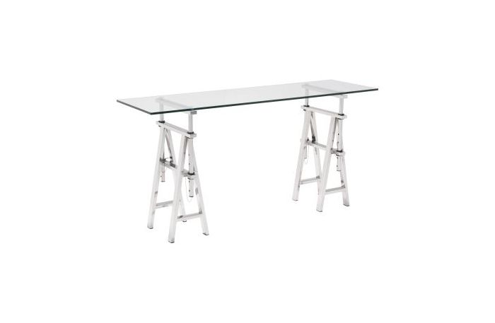 Lado Glass Stainless Steel Console Table In Chrome