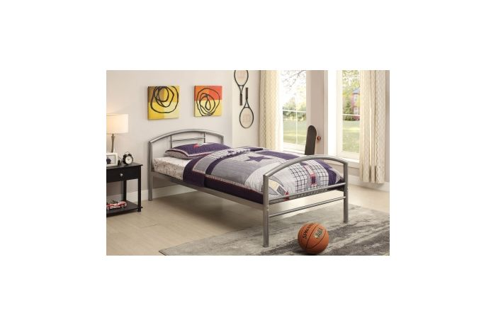 Baines Twin Bed in Silver