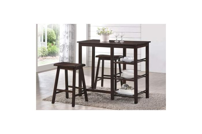Nyssa 3 Piece Stoneberry Counter Height Set in Walnut