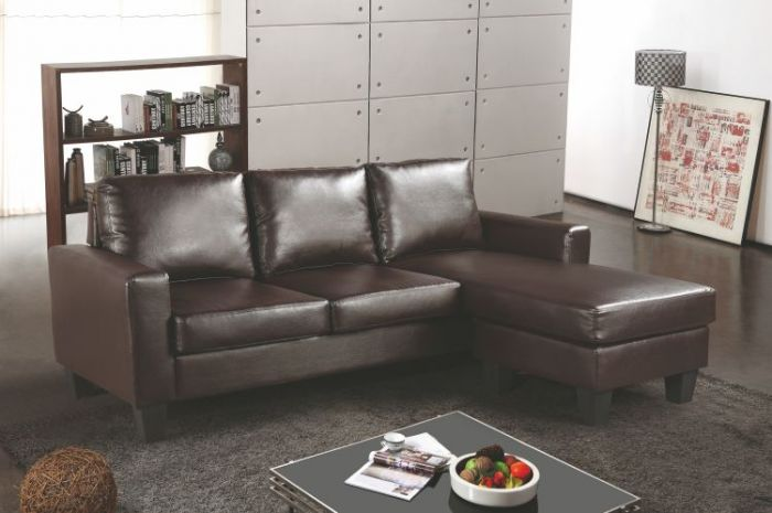 Sectional in Cappuccino Faux Leather