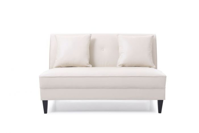 Faux Leather Settee in Pearl