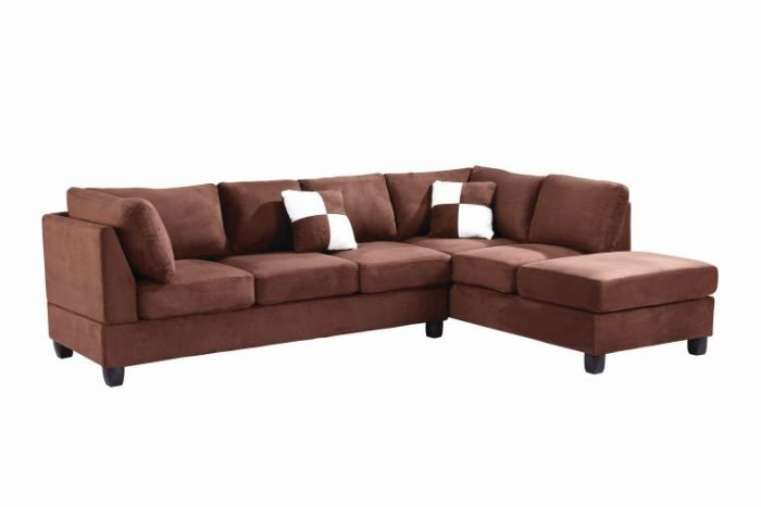 Comfortable Tufted Sectional In Chocolate Suede (2 Boxes)