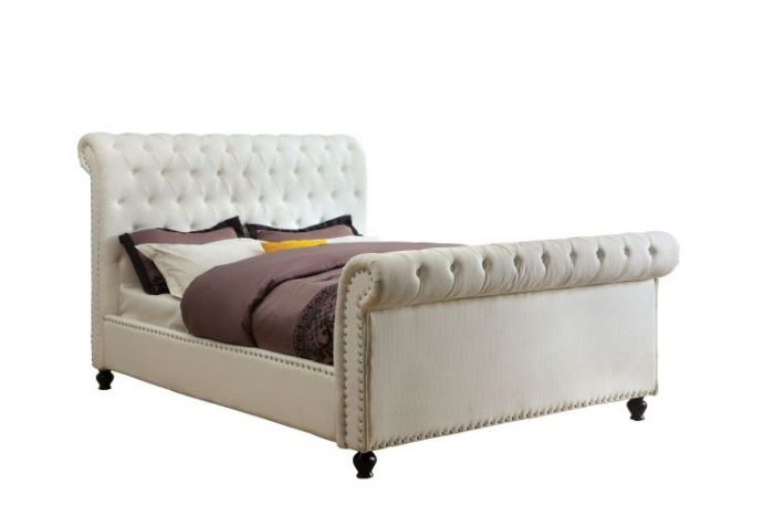 Vidda Tufted Fabric Cal. King Platform Bed in White