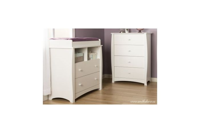 Beehive Changing Table and 4-Drawer Chest Pure White