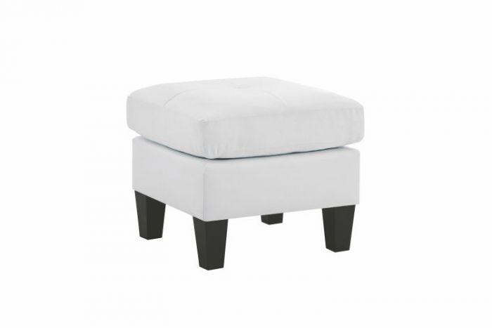 Ottoman in White White Fax Leather