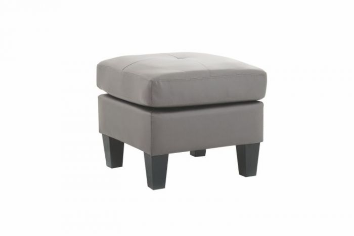 Ottoman in Gray Faux Leather