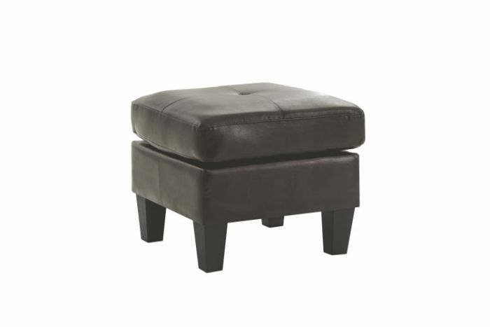Ottoman in Black Faux Leather