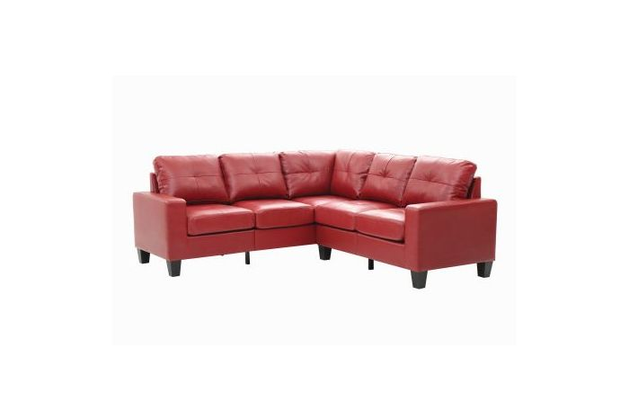 Columbus Sectional Sofa In Red Faux Leather