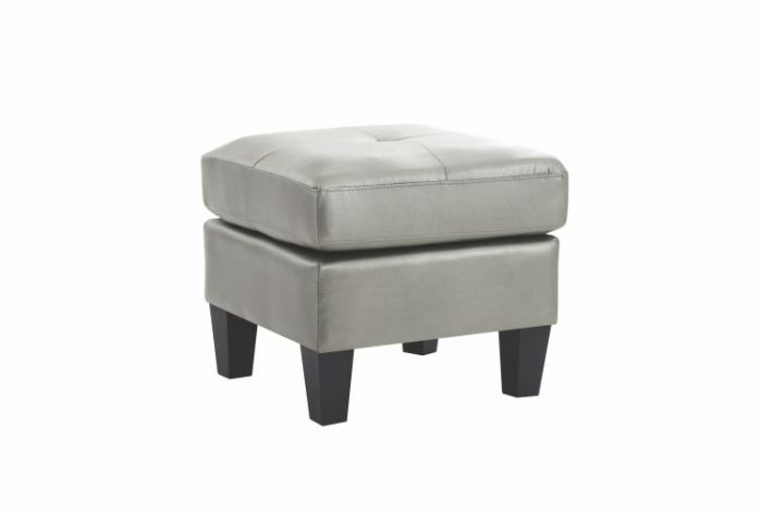 Ottoman in Antiqued Silver Faux Leather