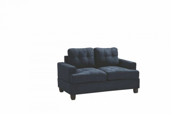 Progressive Loveseat in Navy Blue Suede