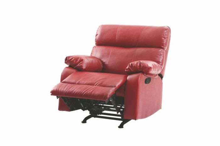 Rocker Recliner In Red Faux Leather