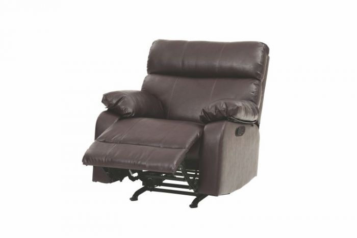 Rocker Recliner In Brown Faux Leather
