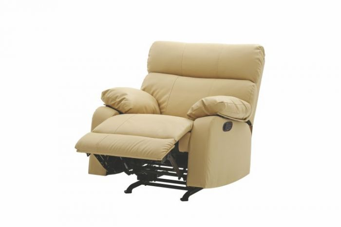 Rocker Recliner In Beige Faux Leather