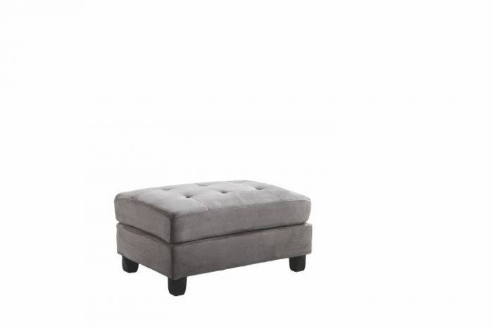 Ottoman in Grey Suede