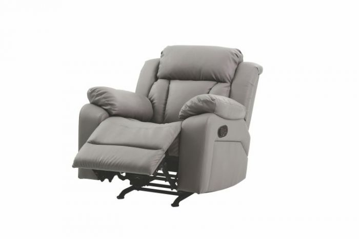 Rocker Recliner in Gray Faux Leather