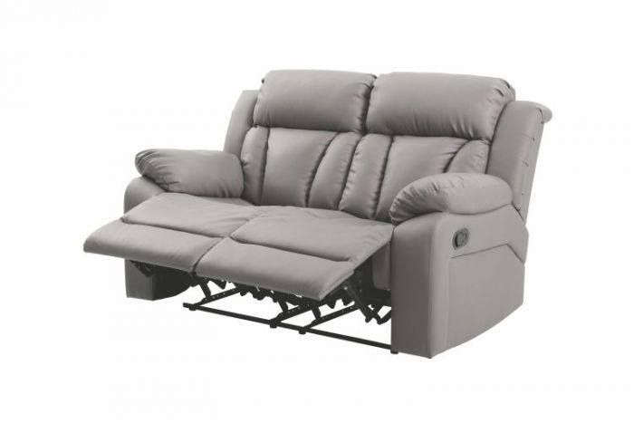 Reclining Aaron's Loveseat in Gray Faux Leather