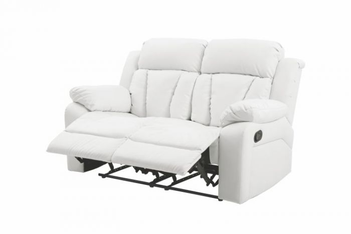 Reclining Aaron's Loveseat in White Faux Leather