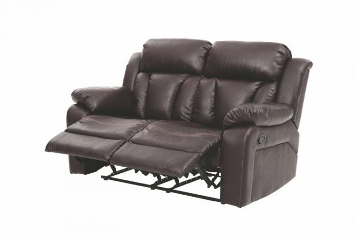 Reclining Aaron's Loveseat in Brown Faux Leather