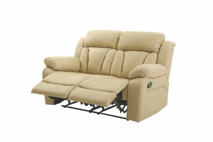 Reclining Aaron's Loveseat in Beige Faux Leather
