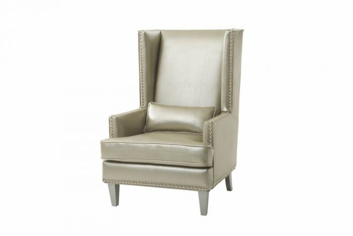 Accent Chair in Gilver Faux Leather