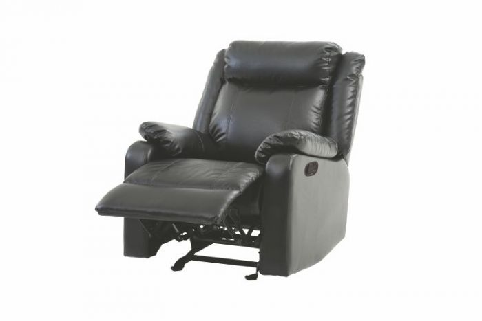 Rocker Removable back Recliner in Black Faux Leather
