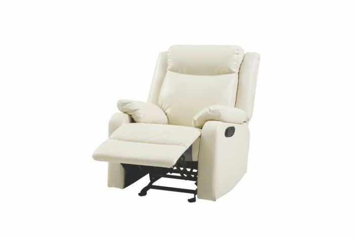 Rocker Recliner in Pearl Faux Leather