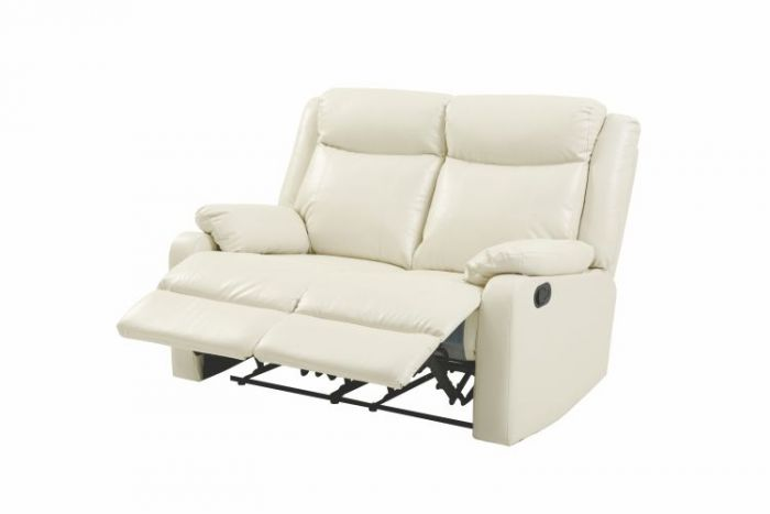 Double Reclining Aaron's Loveseat in Pearl Faux Leather