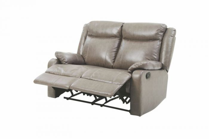 Double Reclining Aaron's Loveseat in Gray Faux Leather