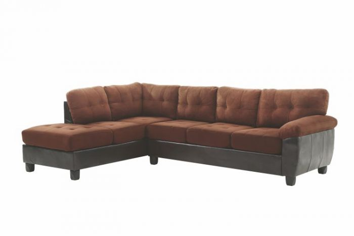 Sectional in Chocolate Suede/Pu