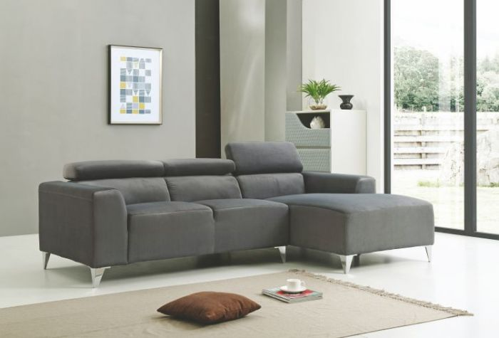 Sofa Sectional in Gray Velvet Micro Suede