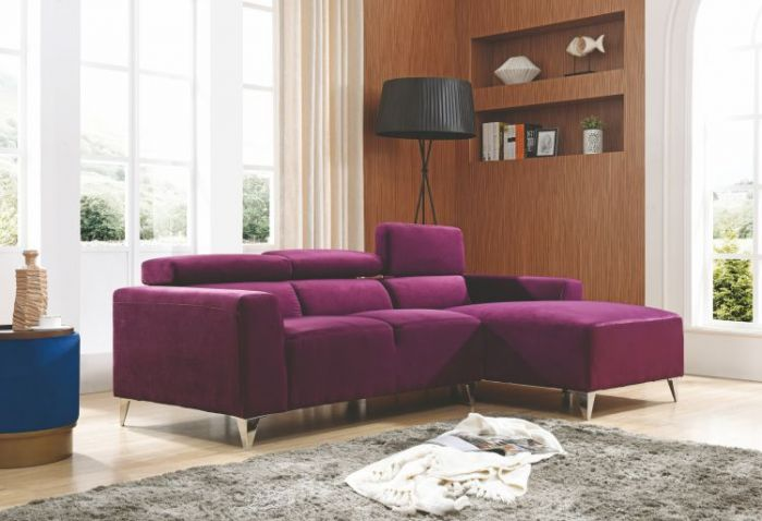 Sofa Sectional in Purple Velevt Micro Suede