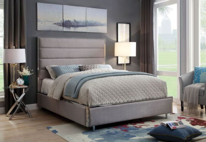 Ballista Metal Trim Cal. King Tufted Fabric Bed In Gray