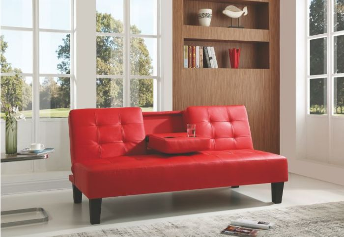 Red Sofa Bed With Cup Holder
