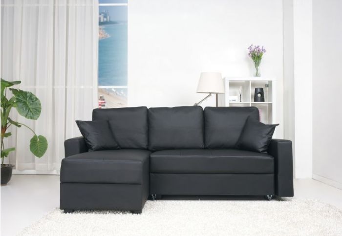 Aspen Convertible Sectional Storage Sofa Bed in Black