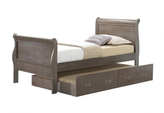 Twin Trundle Bed in Grey