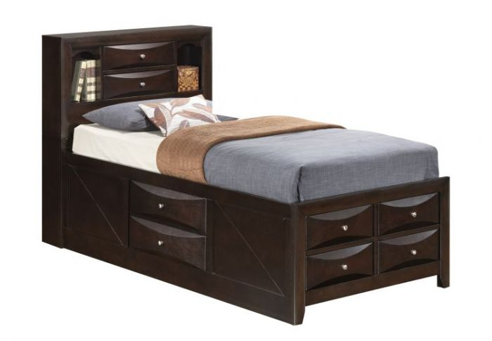 Twin Storage Bed in Cappuccino