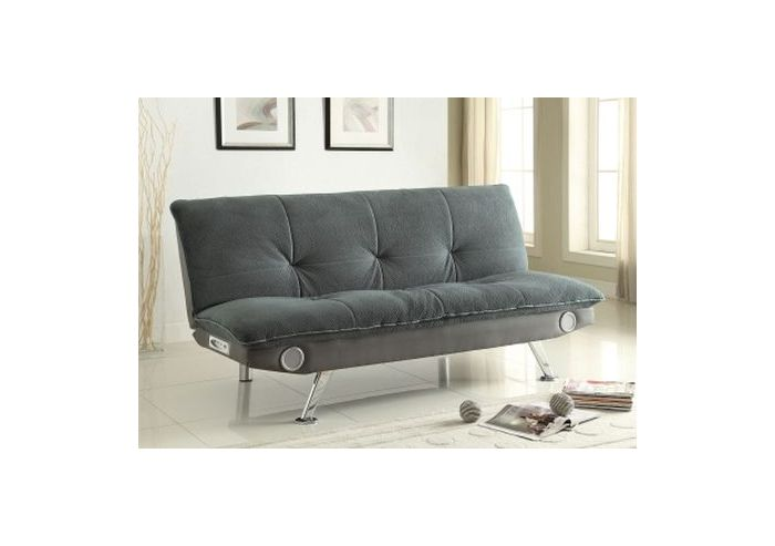 Convertible Armless Sofa Bed with Built-In Bluetooth Speaker