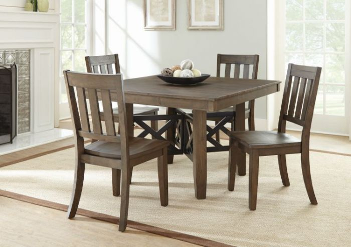 Mayla 5 Piece Dining Set in Rustic Latte Finish