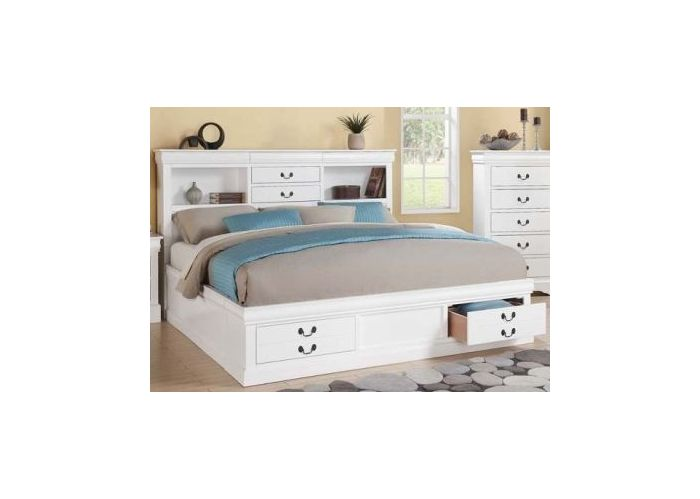 Louis Philippe III White Storage Cal King Bed