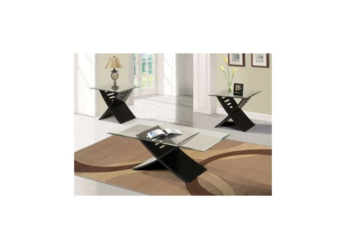 Elhan Black 3 pieces Glass Top Coffee and End Table Set
