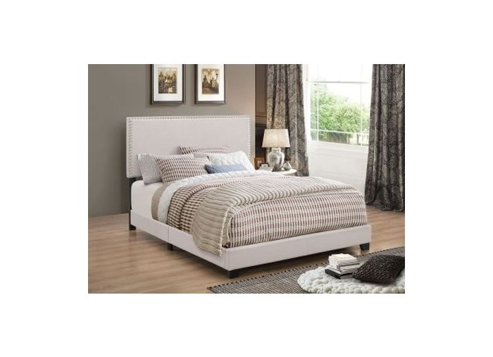 Espressso Upholstered Cal King Bed with Nailhead Trim