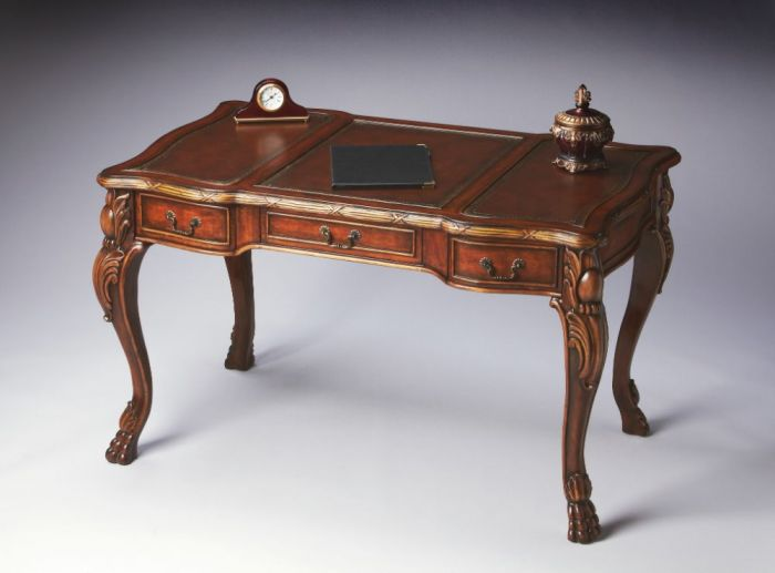 Galloway Carved Chestnut/Maple/Leather Desk