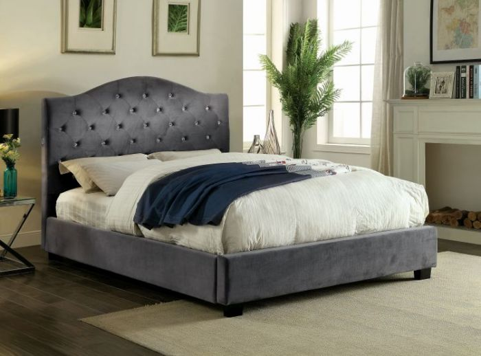 Mercia LED King Light Up Platform Bed in Gray