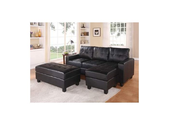 Sectional Sofa (Reversible Chaise) with Ottoman